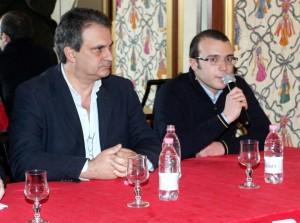 Roberto Fiore e il coordinatore provinciale Tommaso Golini durante un recente incontro a Macerata