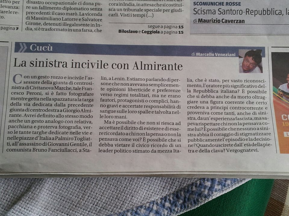 L'articolo di Marcello Veneziani sulla prima pagina de Il Giornale