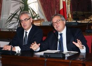 Gian Mario Spacca durante l'incontro di oggi a Macerata